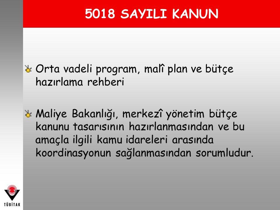 5018 SAYILI KANUN Orta vadeli program, malî plan ve bütçe hazırlama rehberi.