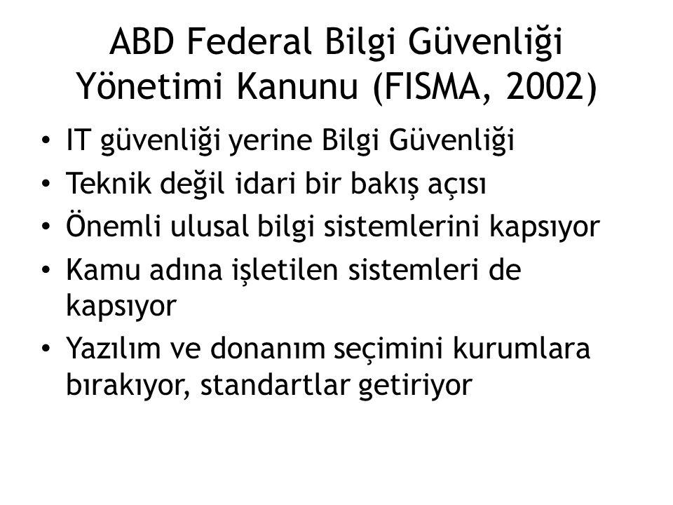 ABD Federal Bilgi Güvenliği Yönetimi Kanunu (FISMA, 2002)