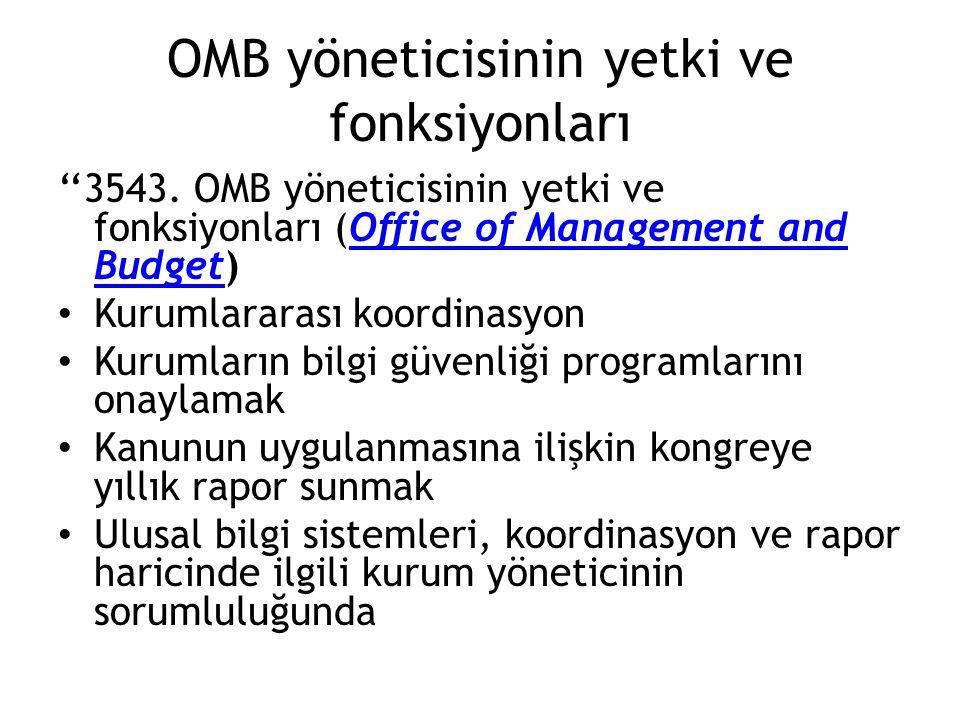 OMB yöneticisinin yetki ve fonksiyonları