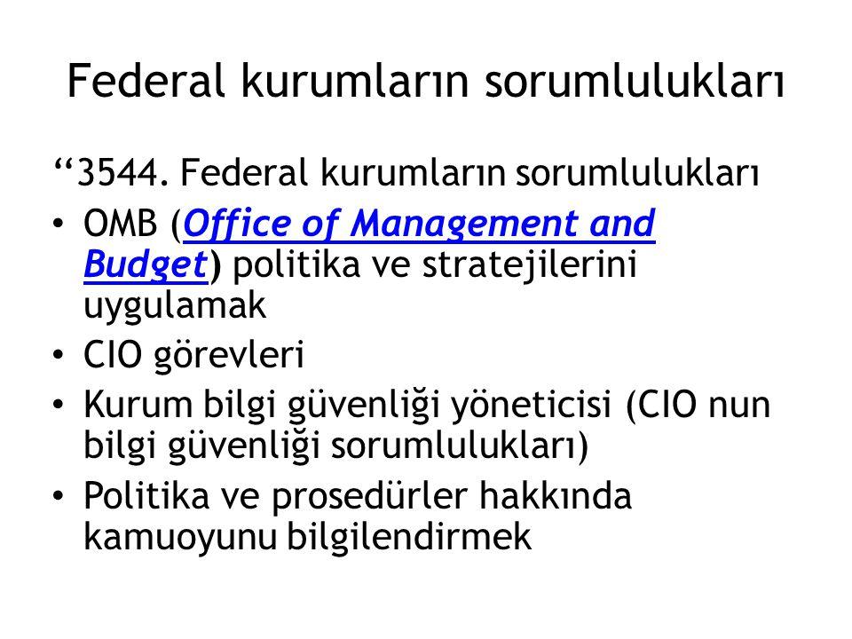 Federal kurumların sorumlulukları