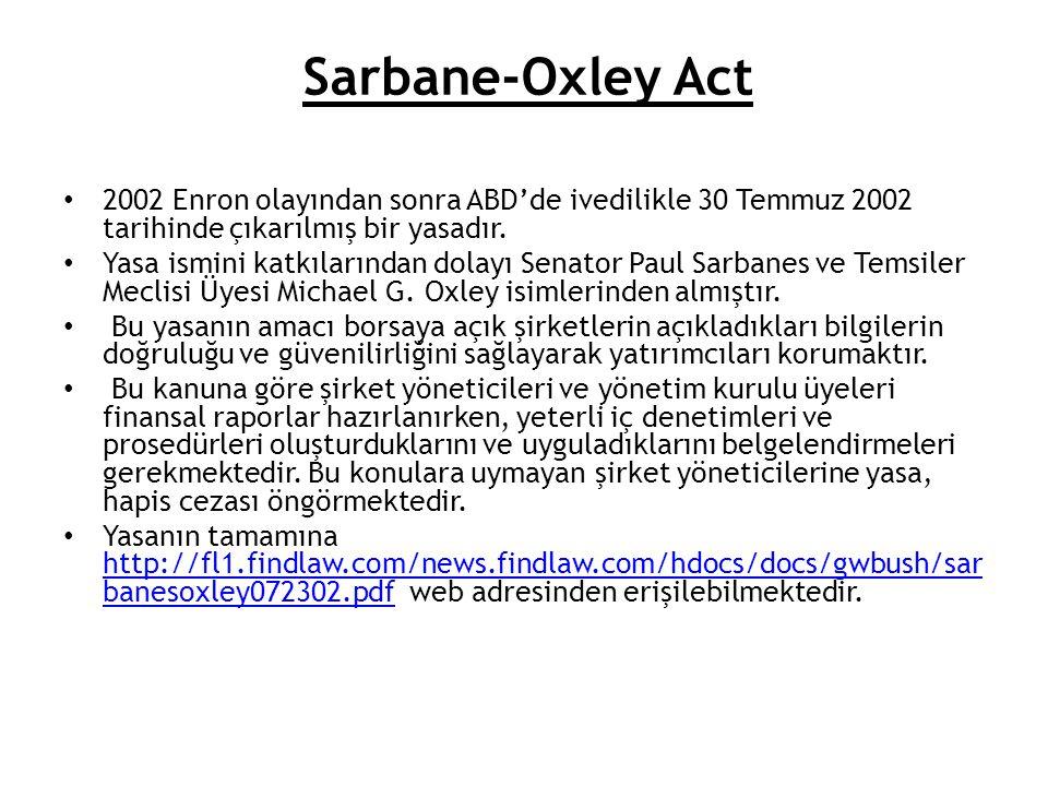 Sarbane-Oxley Act 2002 Enron olayından sonra ABD'de ivedilikle 30 Temmuz 2002 tarihinde çıkarılmış bir yasadır.