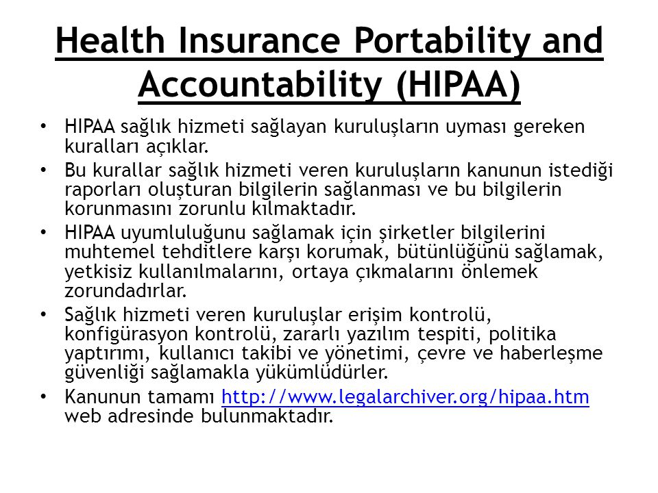 Health Insurance Portability and Accountability (HIPAA)