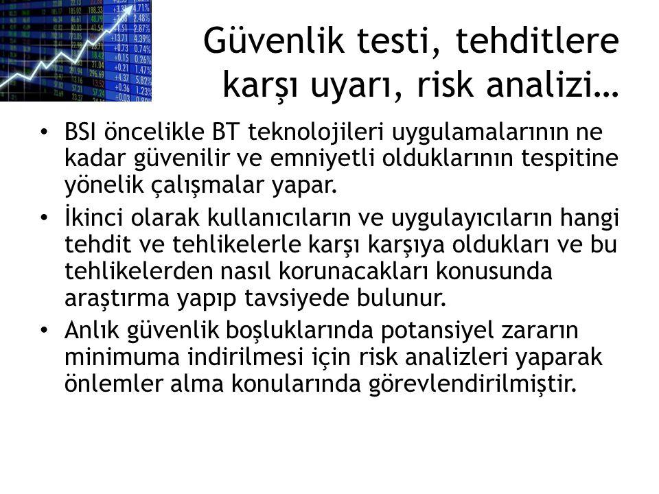 Güvenlik testi, tehditlere karşı uyarı, risk analizi…