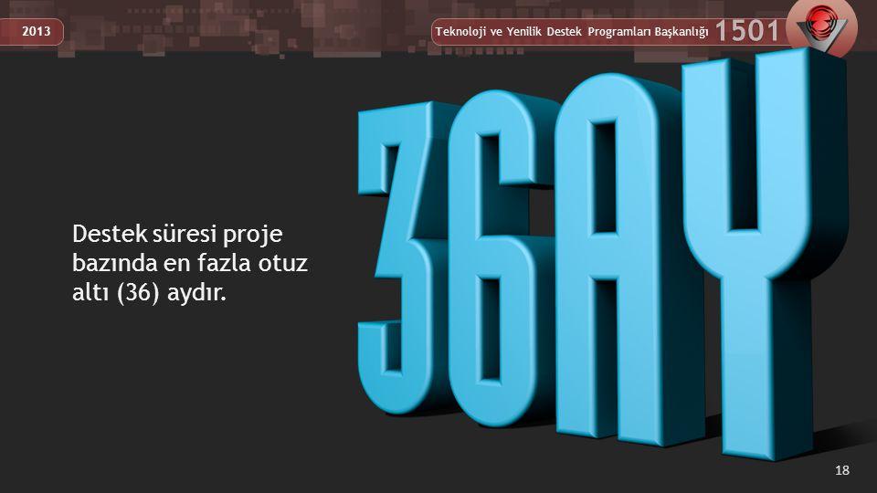 Destek süresi proje bazında en fazla otuz altı (36) aydır.