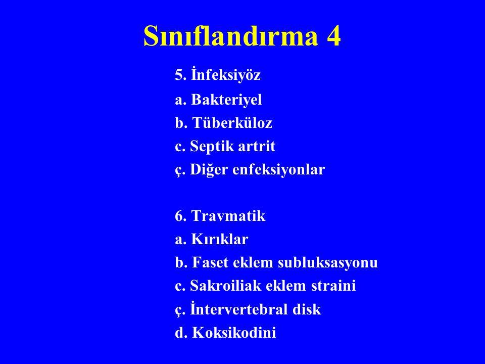 Sınıflandırma 4 5. İnfeksiyöz a. Bakteriyel b. Tüberküloz