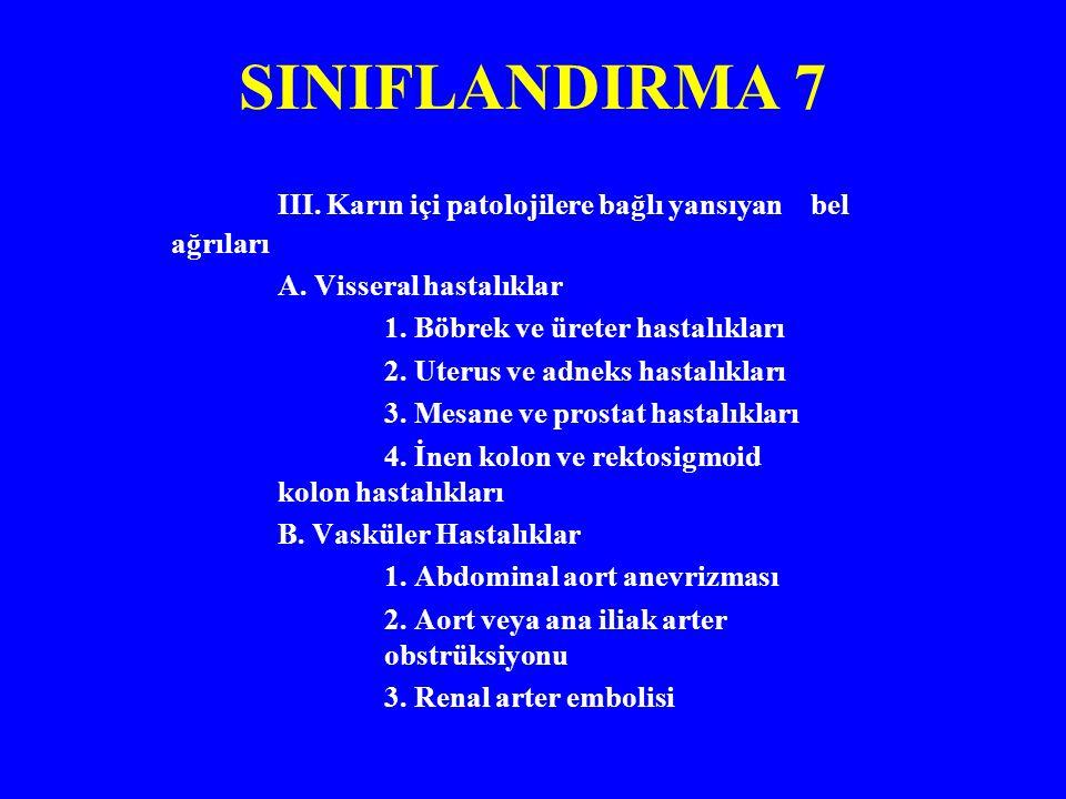 SINIFLANDIRMA 7 III. Karın içi patolojilere bağlı yansıyan bel ağrıları. A. Visseral hastalıklar.