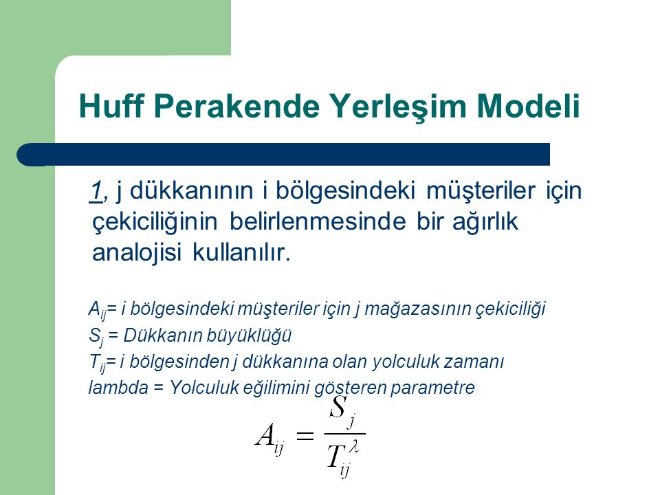 Huff Perakende Yerleşim Modeli