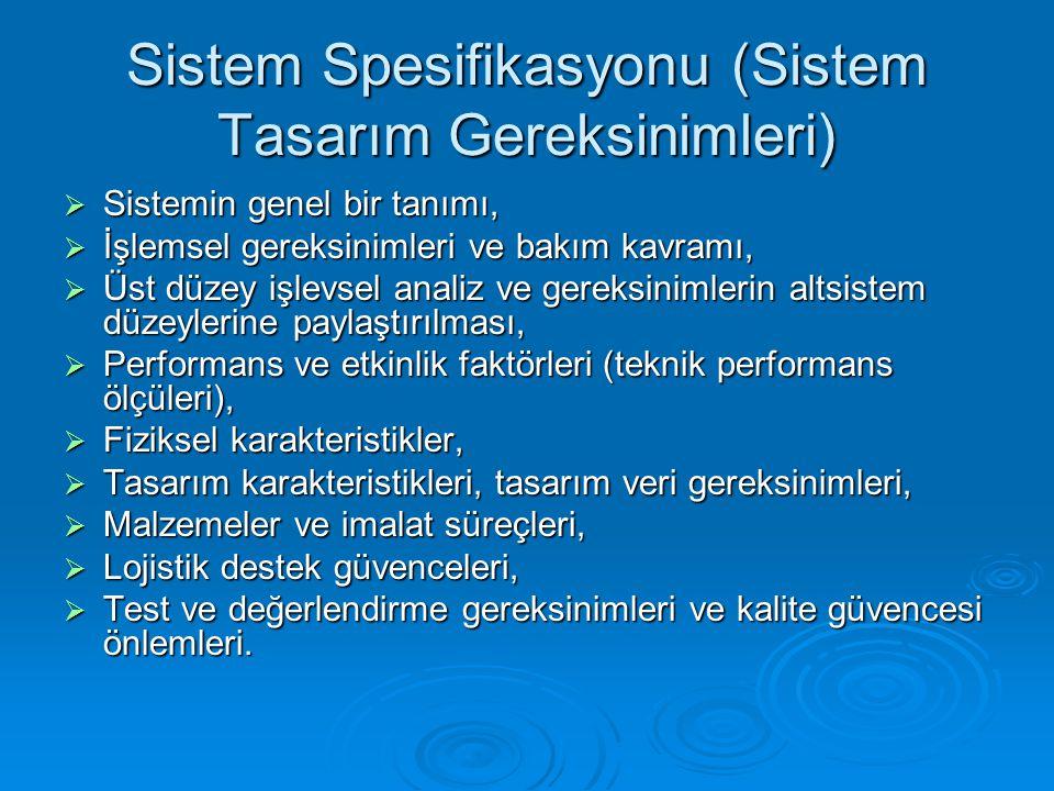 Sistem Spesifikasyonu (Sistem Tasarım Gereksinimleri)