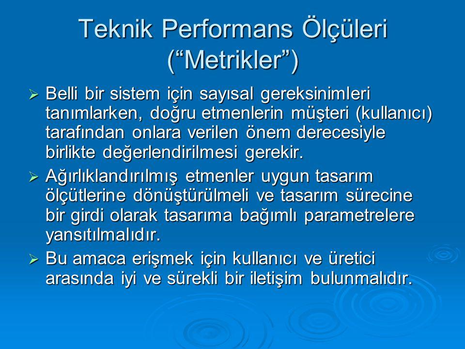 Teknik Performans Ölçüleri ( Metrikler )