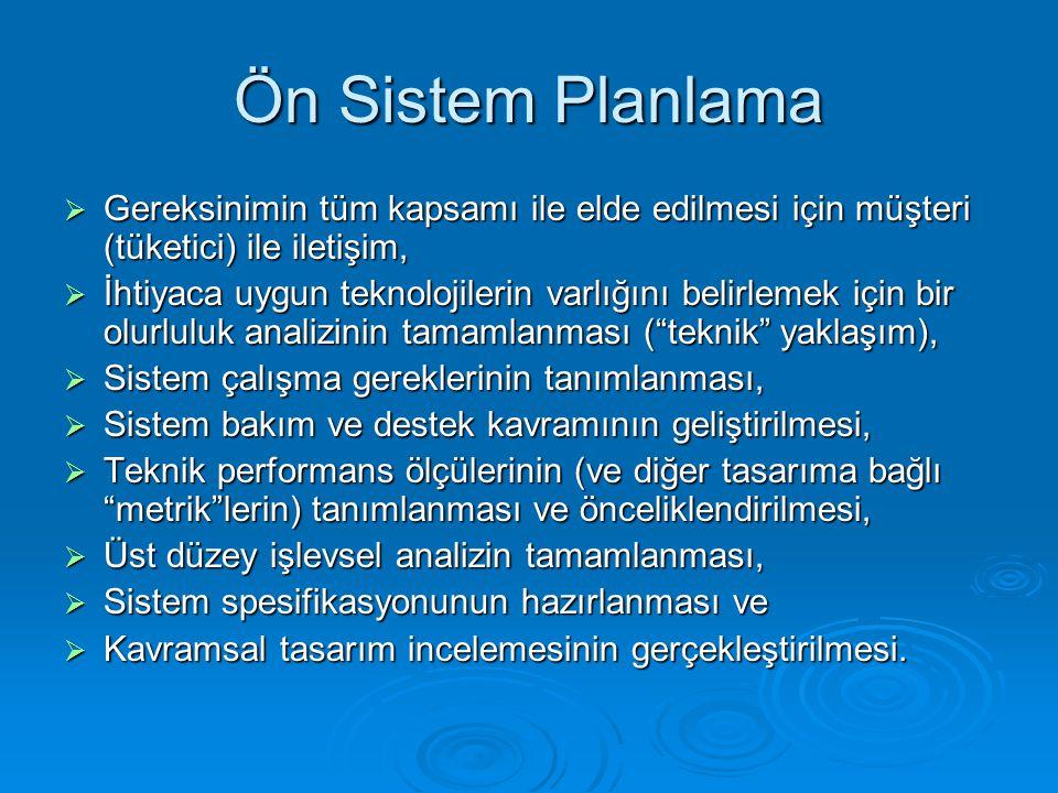 Ön Sistem Planlama Gereksinimin tüm kapsamı ile elde edilmesi için müşteri (tüketici) ile iletişim,