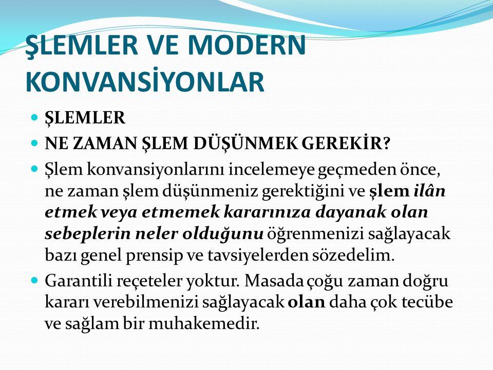 ŞLEMLER VE MODERN KONVANSİYONLAR