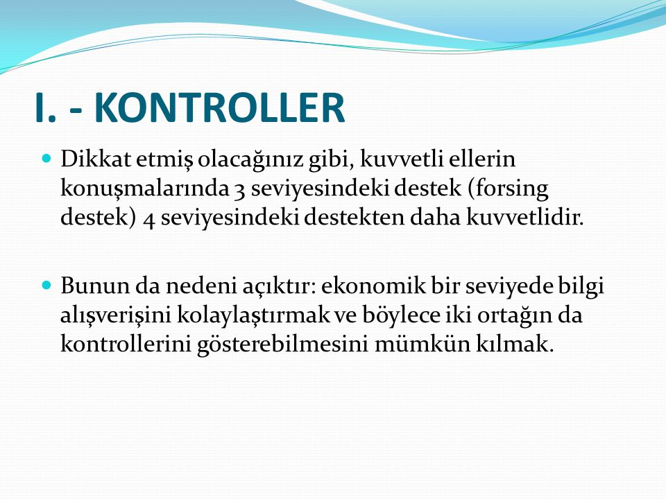 I. - KONTROLLER