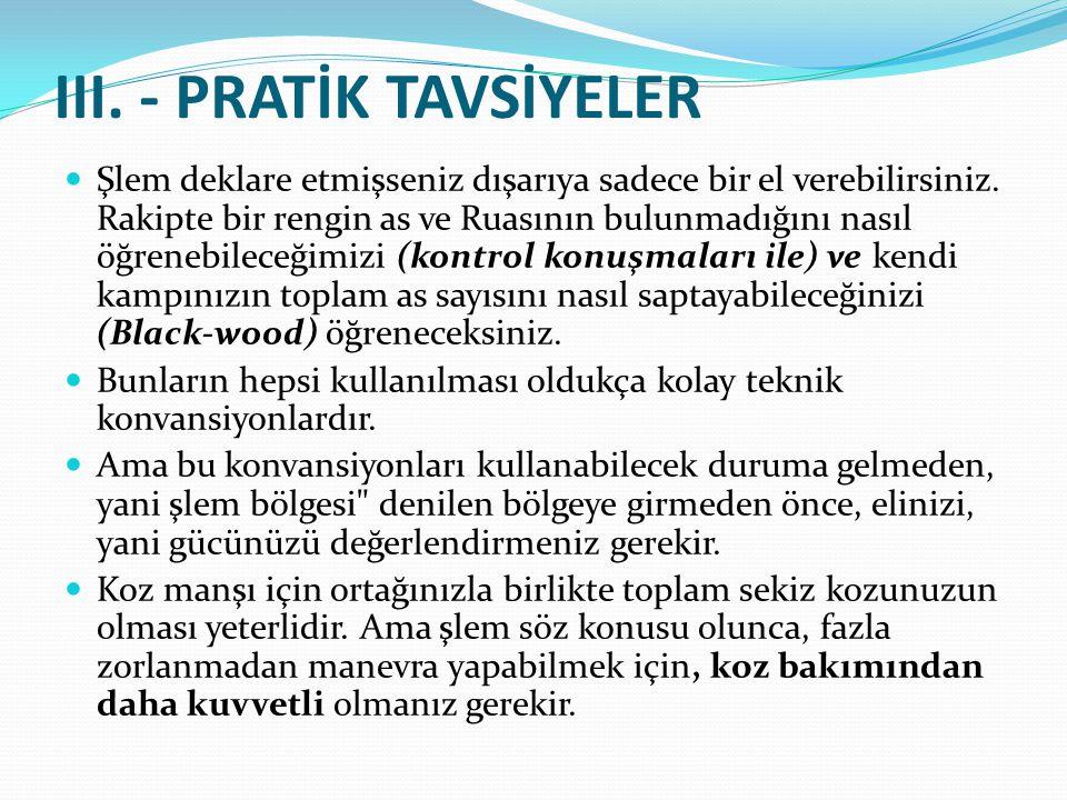III. - PRATİK TAVSİYELER