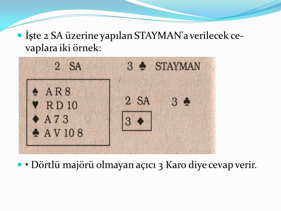 İşte 2 SA üzerine yapılan STAYMAN a verilecek cevaplara iki örnek: