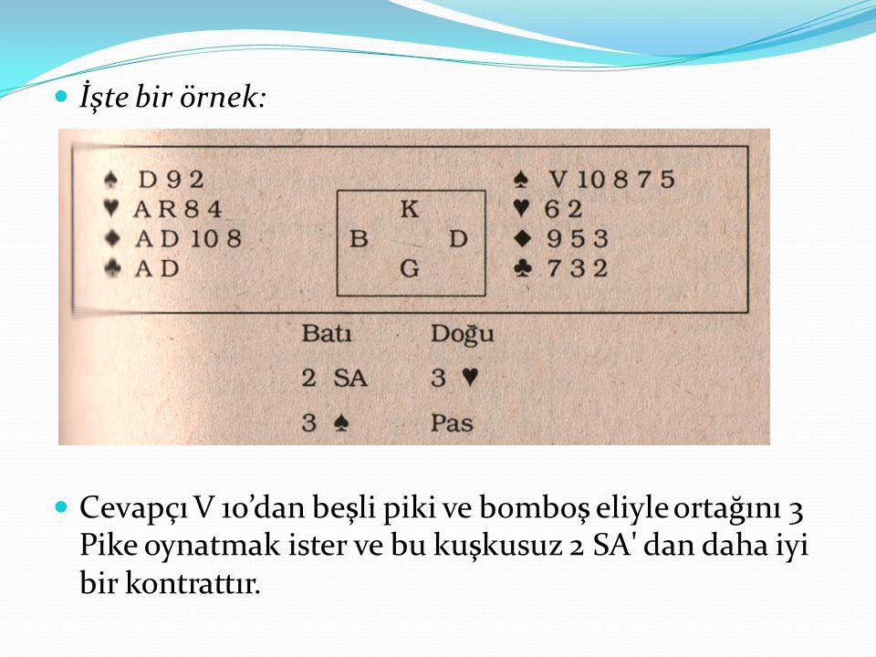 İşte bir örnek: Cevapçı V 10'dan beşli piki ve bomboş eliyle ortağını 3 Pike oynatmak ister ve bu kuşkusuz 2 SA dan daha iyi bir kontrattır.