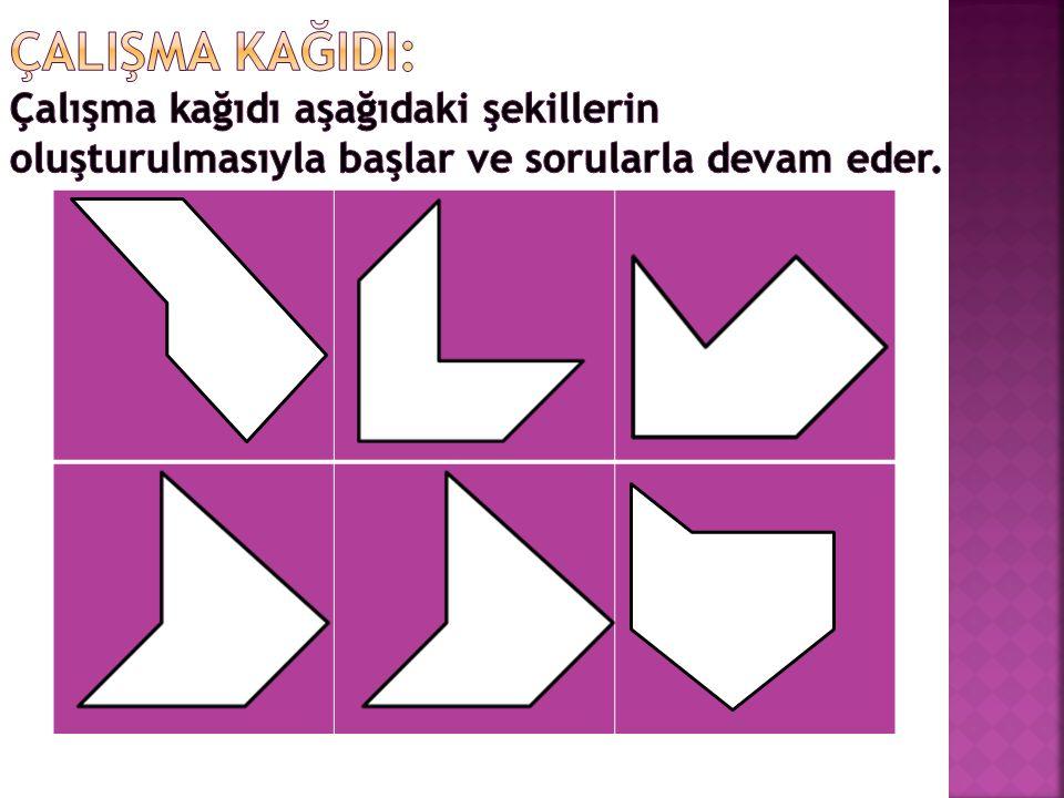 ÇALIŞMA KAĞIDI: Çalışma kağıdı aşağıdaki şekillerin oluşturulmasıyla başlar ve sorularla devam eder.