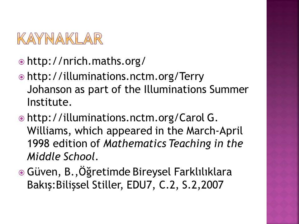 KAYNAKLAR http://nrich.maths.org/