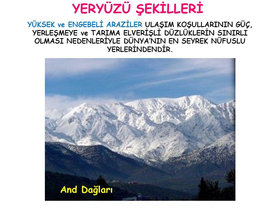 YERYÜZÜ ŞEKİLLERİ And Dağları