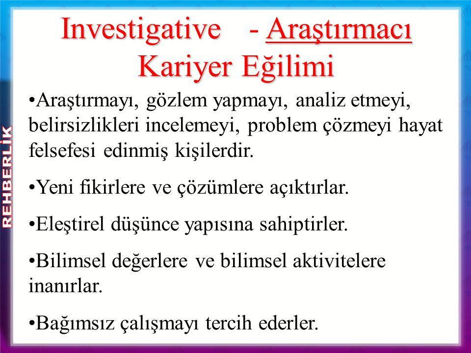 Investigative - Araştırmacı Kariyer Eğilimi