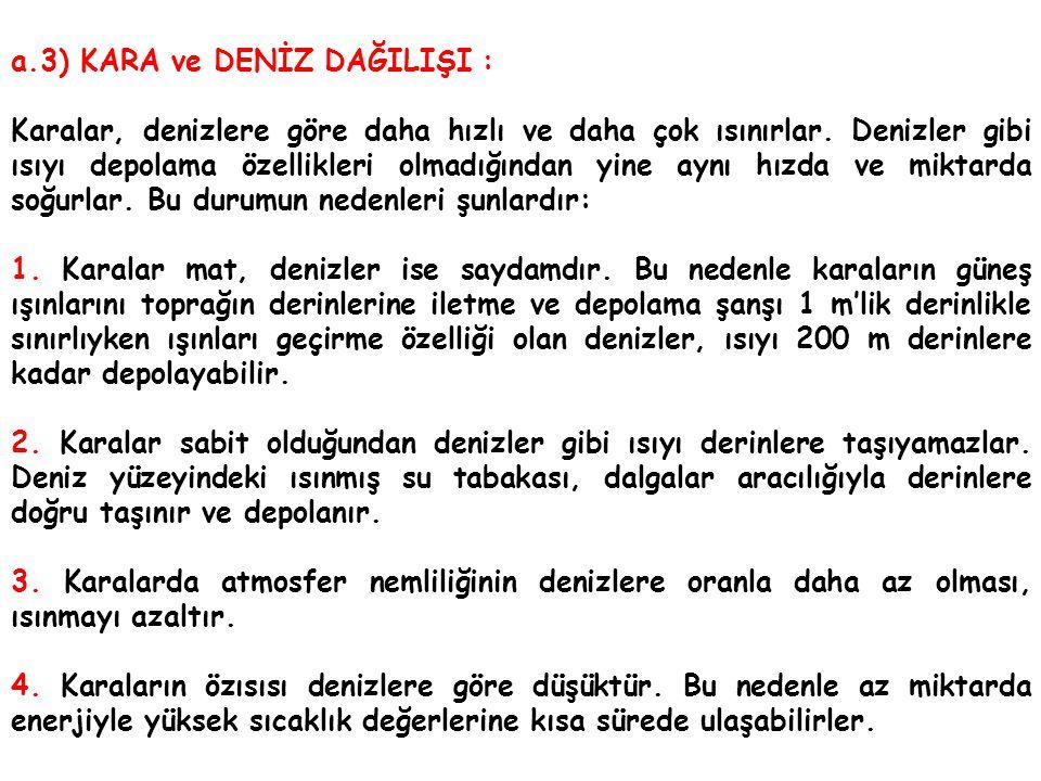 a.3) KARA ve DENİZ DAĞILIŞI :