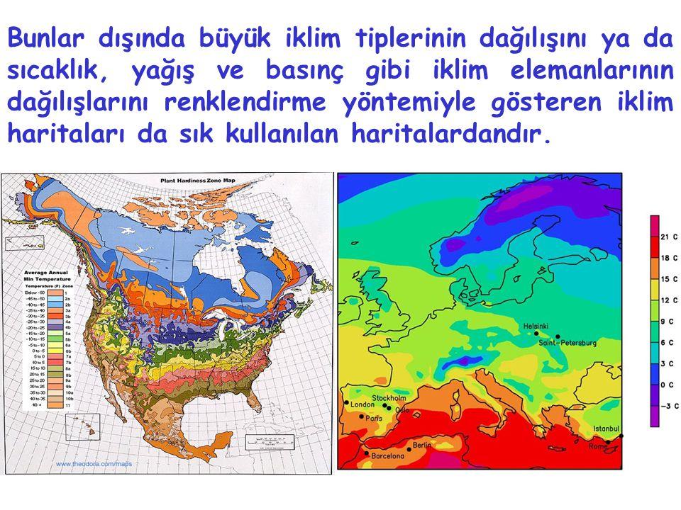 Bunlar dışında büyük iklim tiplerinin dağılışını ya da sıcaklık, yağış ve basınç gibi iklim elemanlarının dağılışlarını renklendirme yöntemiyle gösteren iklim haritaları da sık kullanılan haritalardandır.