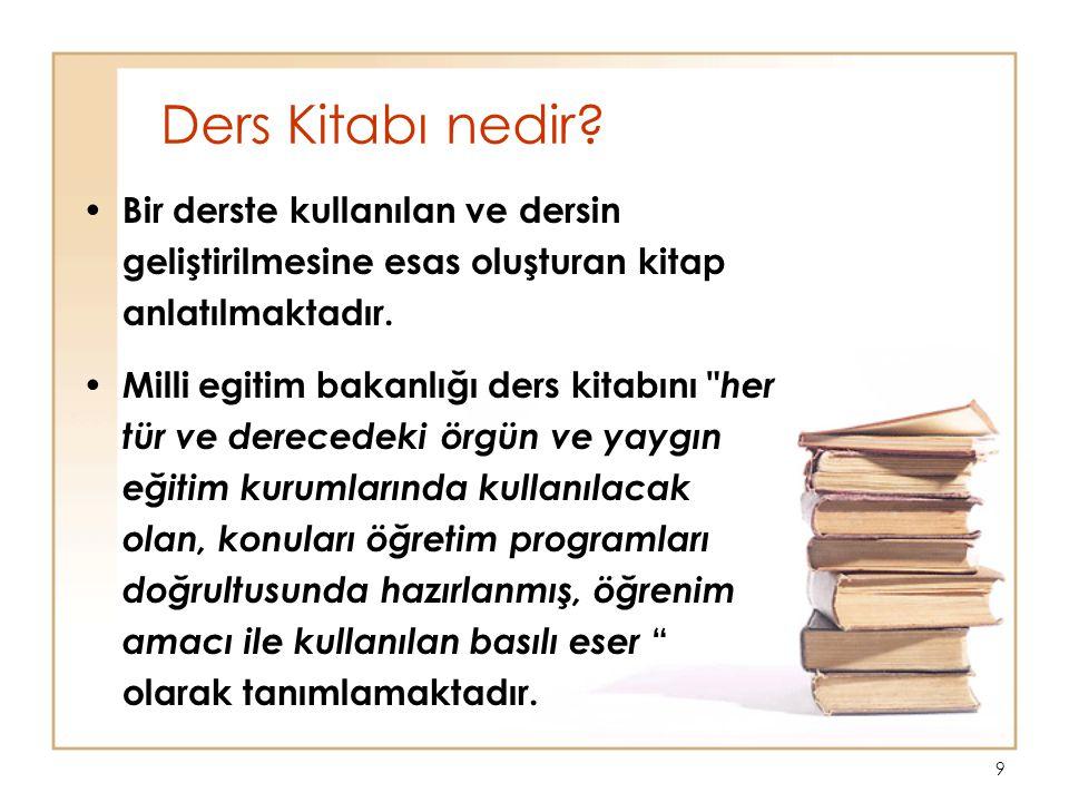 Ders Kitabı nedir Bir derste kullanılan ve dersin geliştirilmesine esas oluşturan kitap anlatılmaktadır.