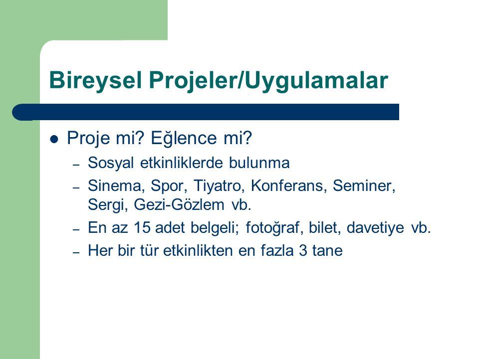 Bireysel Projeler/Uygulamalar