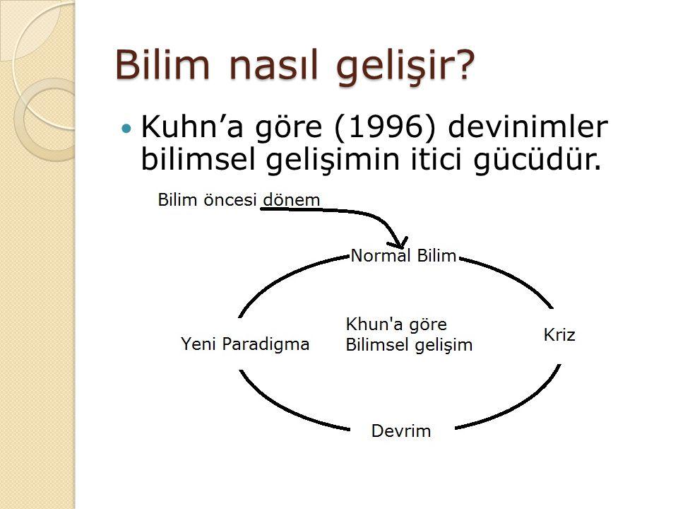 Bilim nasıl gelişir Kuhn'a göre (1996) devinimler bilimsel gelişimin itici gücüdür.