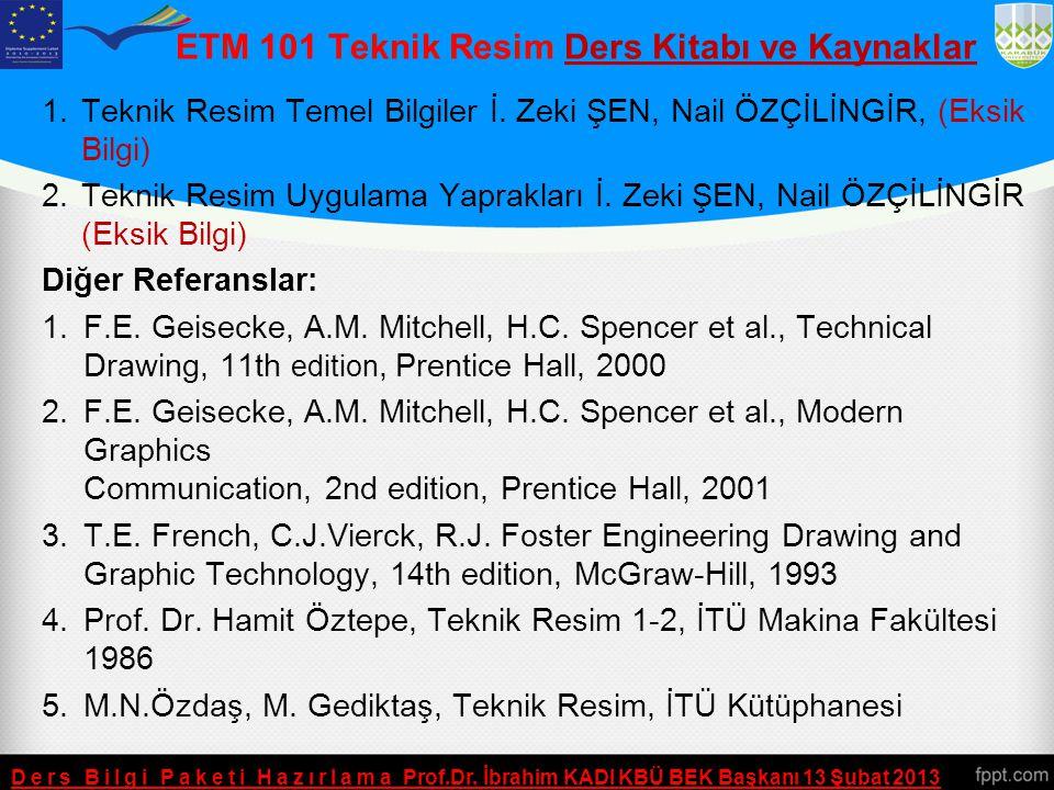 ETM 101 Teknik Resim Ders Kitabı ve Kaynaklar