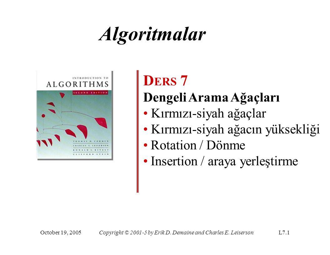 Algoritmalar DERS 7 Dengeli Arama Ağaçları Kırmızı-siyah ağaçlar