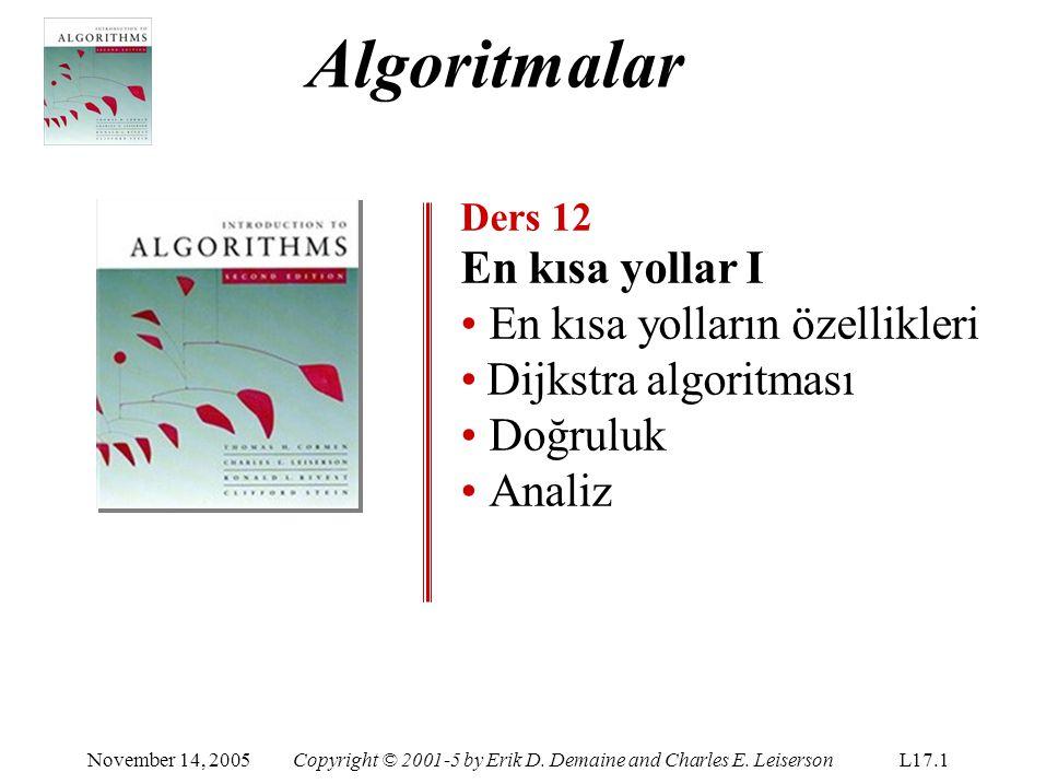 Algoritmalar En kısa yollar I En kısa yolların özellikleri