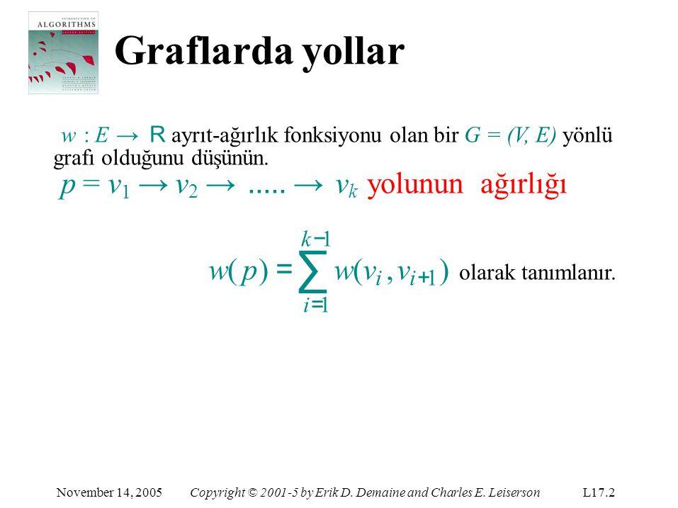 Graflarda yollar p = v1 → v2 → ..... → vk yolunun ağırlığı