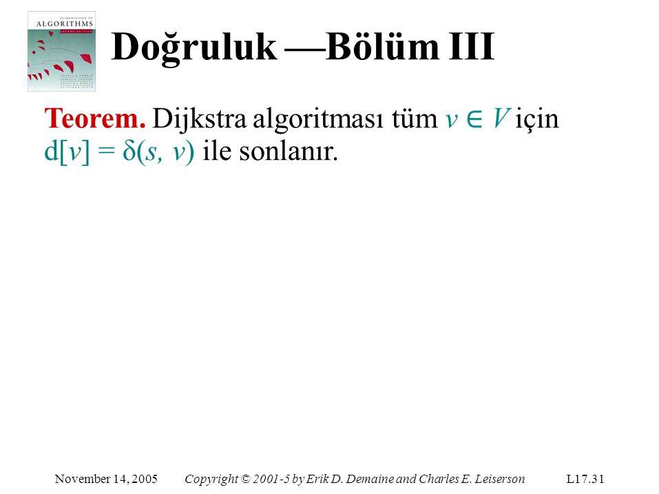 Doğruluk —Bölüm III Teorem. Dijkstra algoritması tüm v ∈ V için