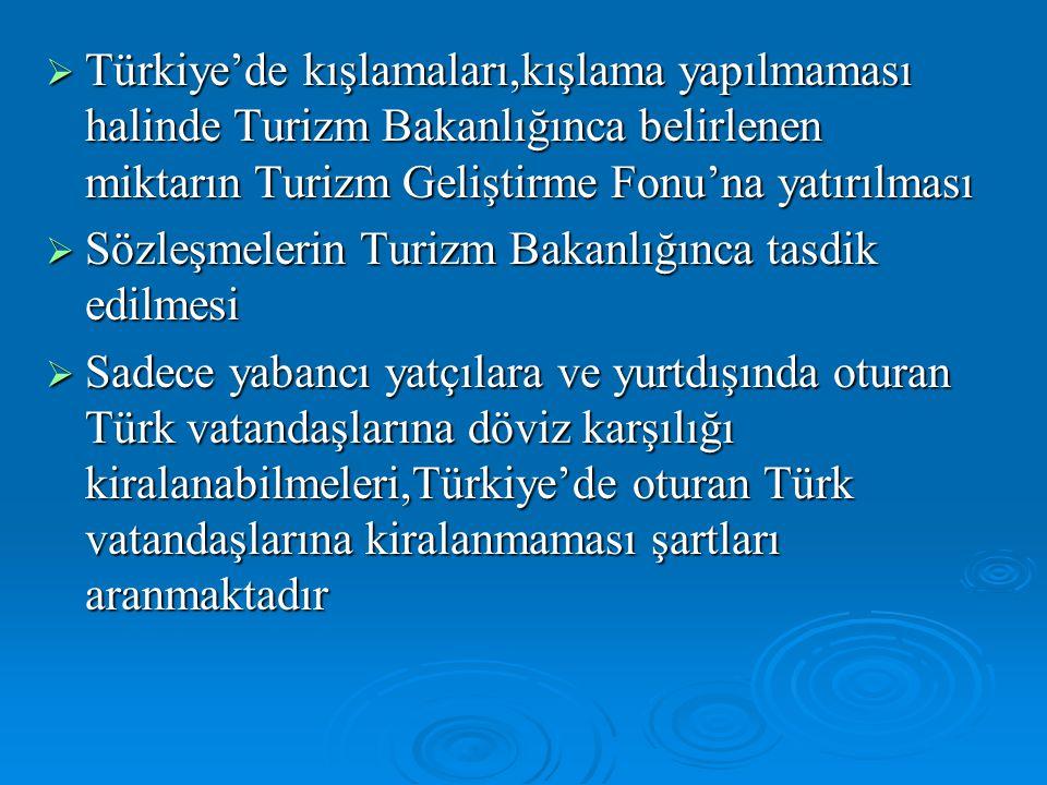 Türkiye'de kışlamaları,kışlama yapılmaması halinde Turizm Bakanlığınca belirlenen miktarın Turizm Geliştirme Fonu'na yatırılması