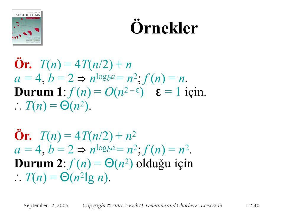 Örnekler Ör. T(n) = 4T(n/2) + n a = 4, b = 2 ⇒ nlogba = n2; f (n) = n.