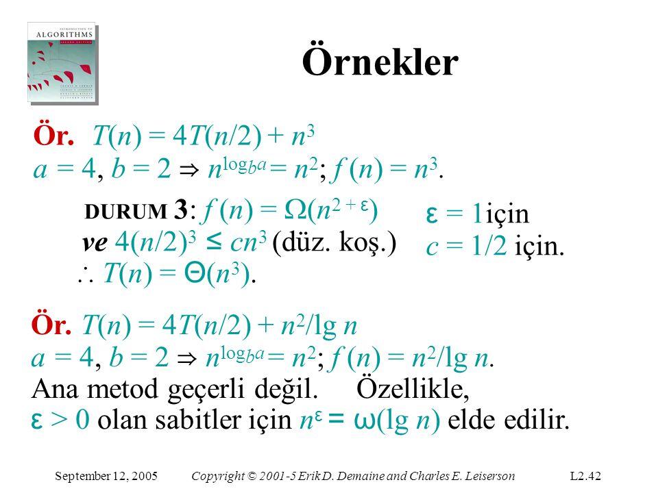 Örnekler Ör. T(n) = 4T(n/2) + n3