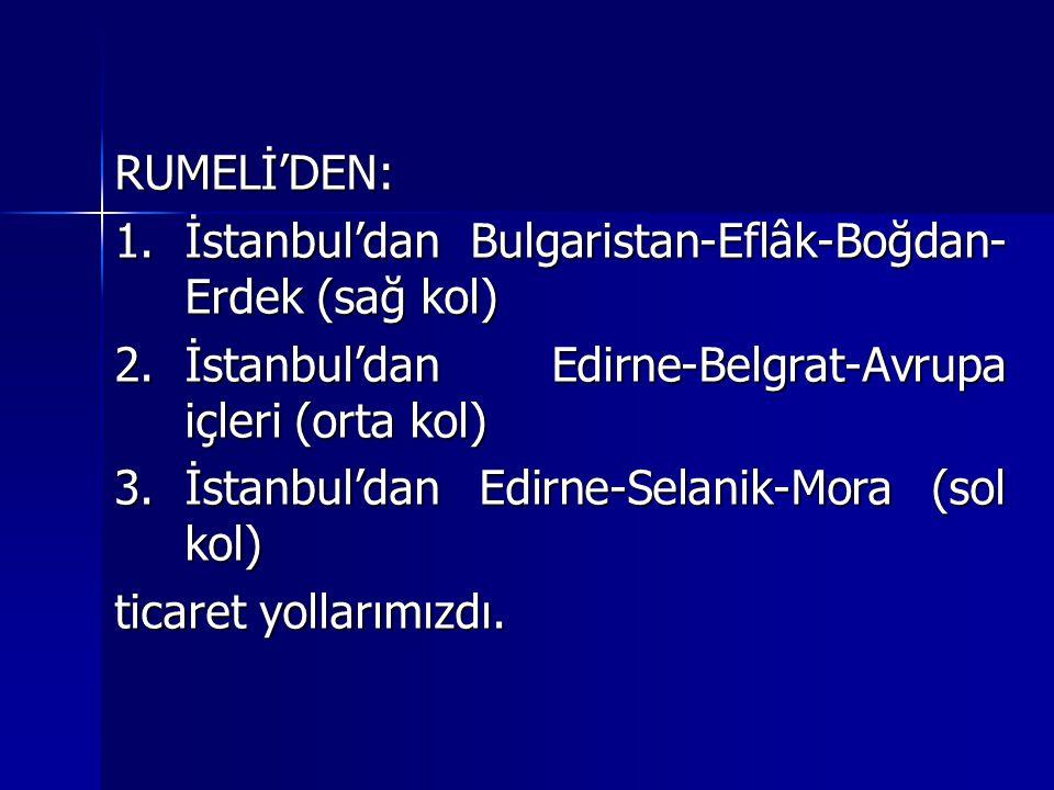 RUMELİ'DEN: İstanbul'dan Bulgaristan-Eflâk-Boğdan-Erdek (sağ kol) İstanbul'dan Edirne-Belgrat-Avrupa içleri (orta kol)