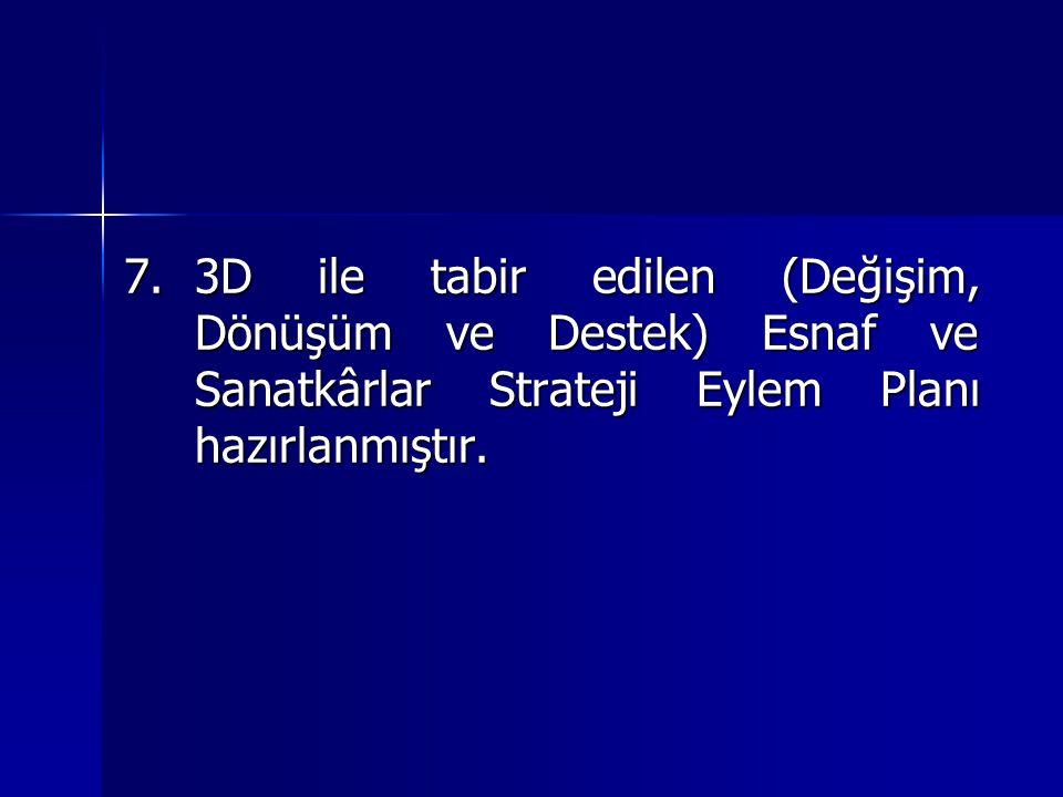 3D ile tabir edilen (Değişim, Dönüşüm ve Destek) Esnaf ve Sanatkârlar Strateji Eylem Planı hazırlanmıştır.