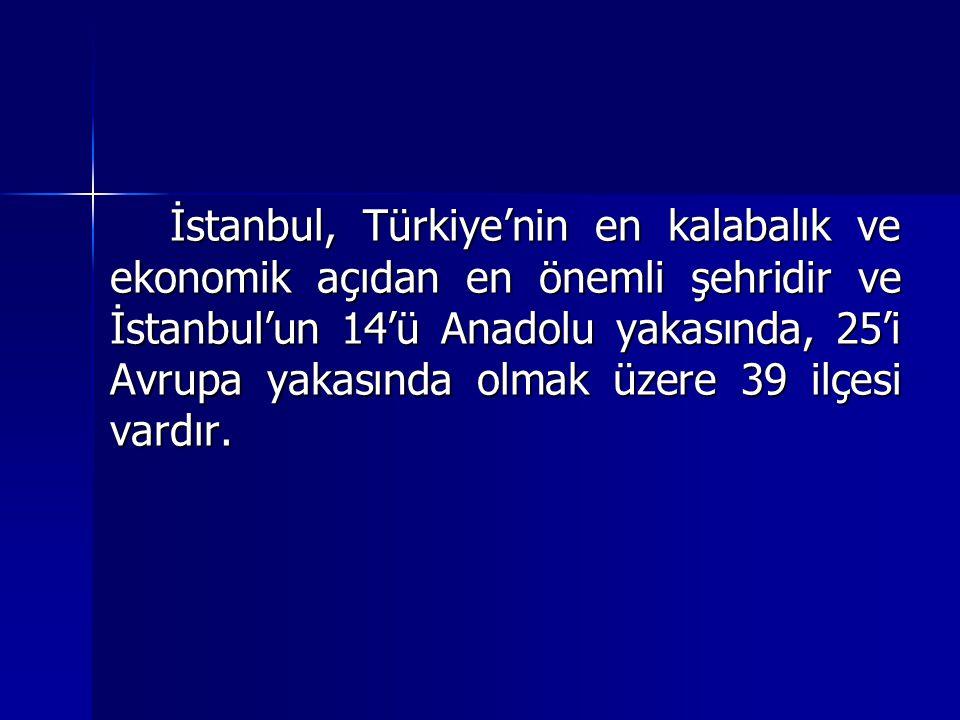 İstanbul, Türkiye'nin en kalabalık ve ekonomik açıdan en önemli şehridir ve İstanbul'un 14'ü Anadolu yakasında, 25'i Avrupa yakasında olmak üzere 39 ilçesi vardır.