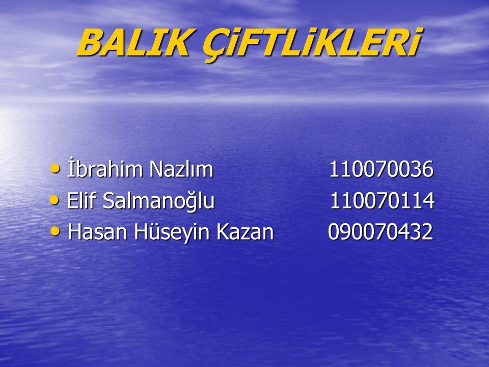 BALIK ÇiFTLiKLERi İbrahim Nazlım 110070036 Elif Salmanoğlu 110070114
