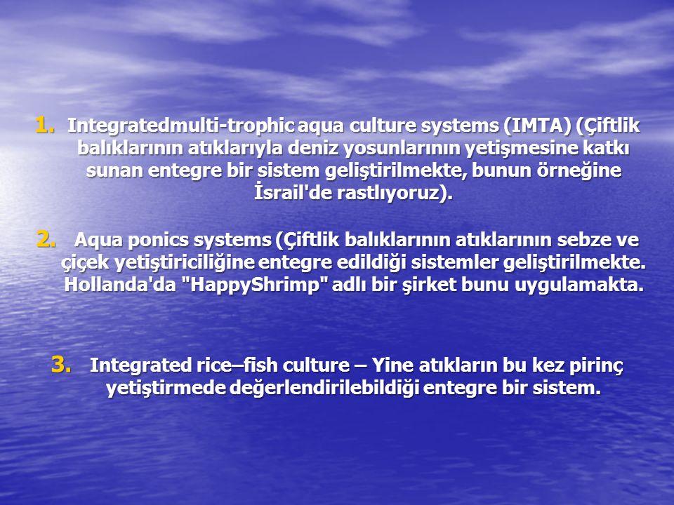 Integratedmulti-trophic aqua culture systems (IMTA) (Çiftlik balıklarının atıklarıyla deniz yosunlarının yetişmesine katkı sunan entegre bir sistem geliştirilmekte, bunun örneğine İsrail de rastlıyoruz).