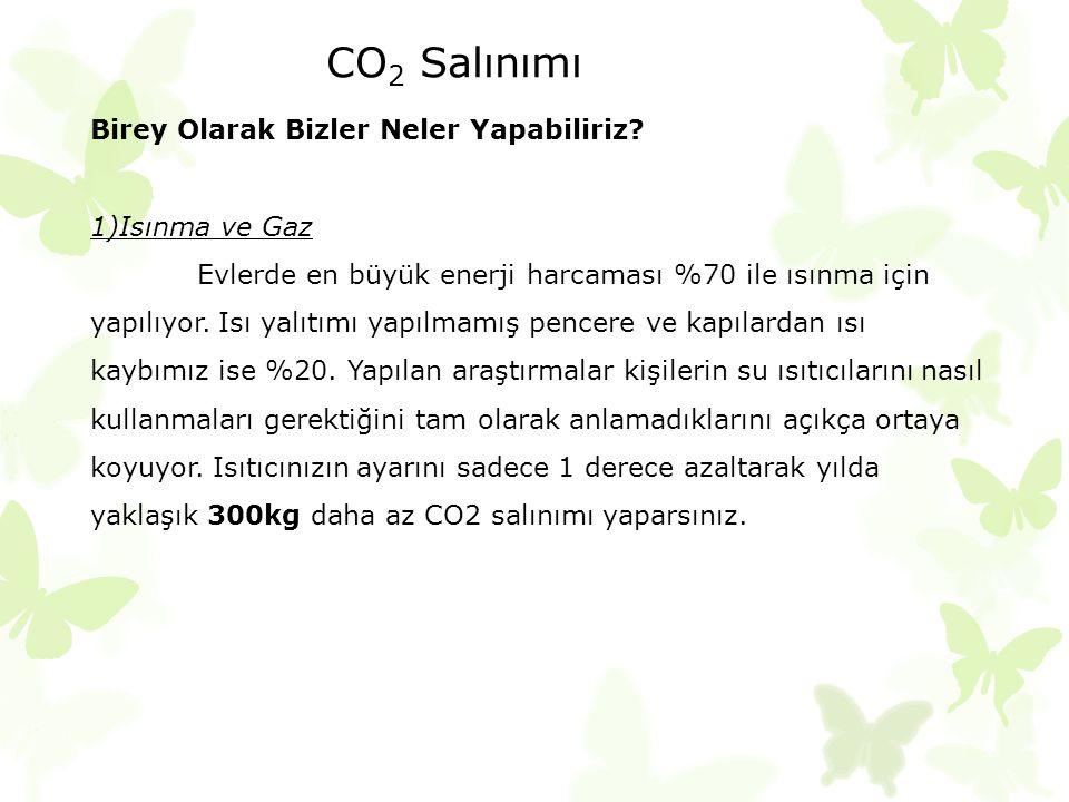CO2 Salınımı Birey Olarak Bizler Neler Yapabiliriz 1)Isınma ve Gaz