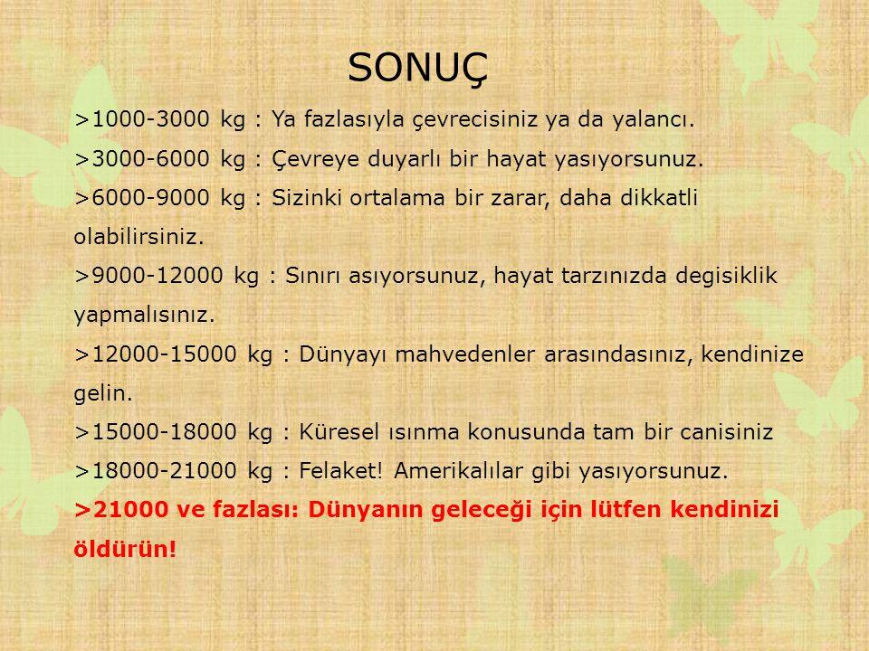 SONUÇ >1000-3000 kg : Ya fazlasıyla çevrecisiniz ya da yalancı.