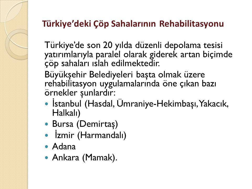 Türkiye'deki Çöp Sahalarının Rehabilitasyonu