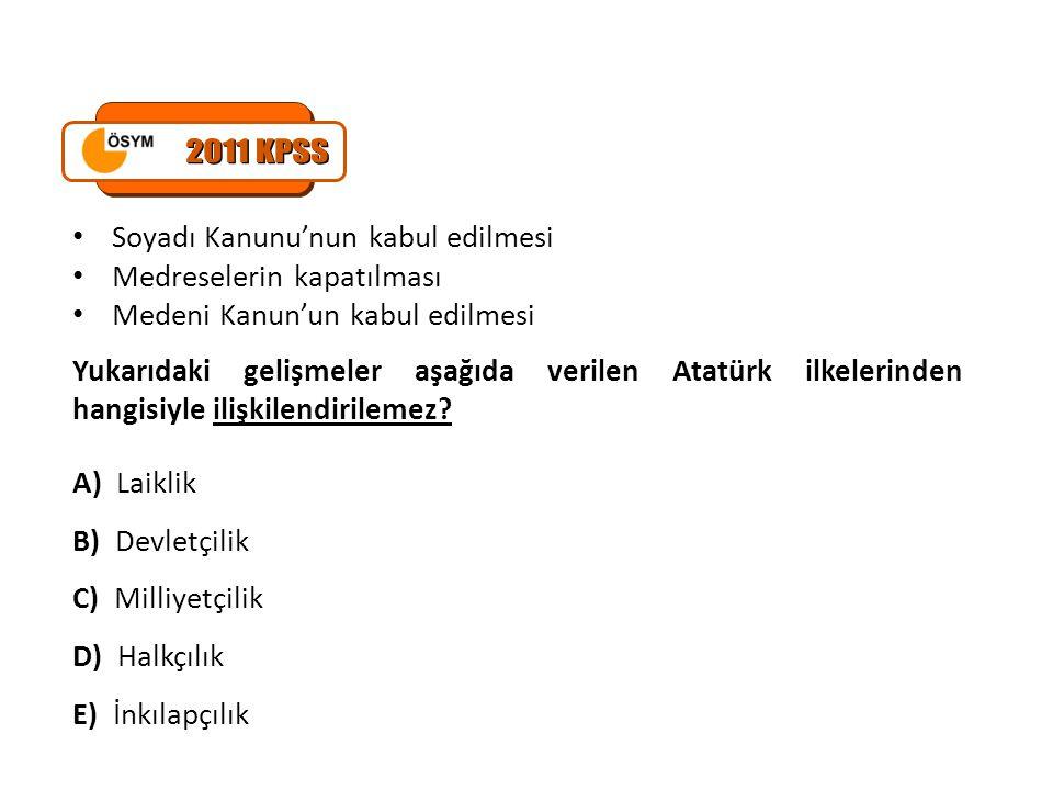 2011 KPSS Soyadı Kanunu'nun kabul edilmesi Medreselerin kapatılması