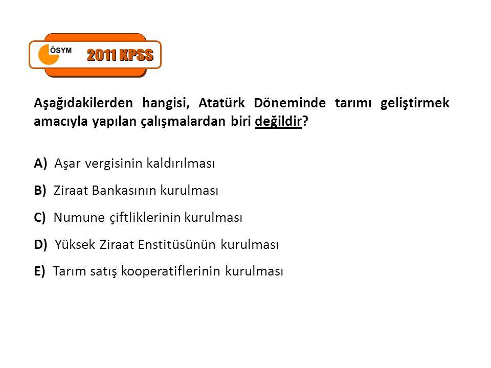 2011 KPSS Aşağıdakilerden hangisi, Atatürk Döneminde tarımı geliştirmek amacıyla yapılan çalışmalardan biri değildir