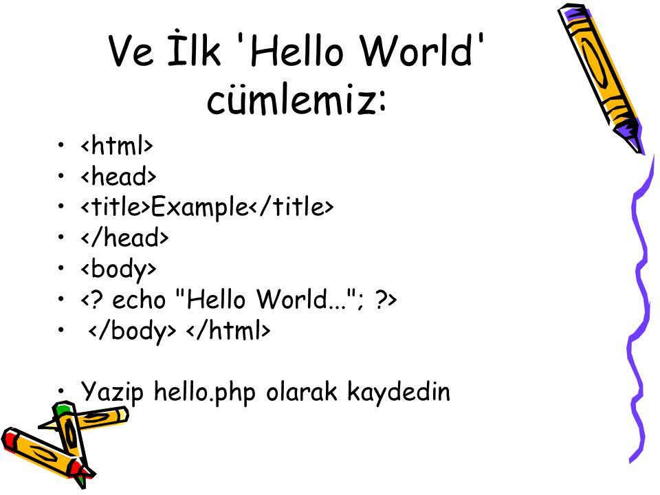 Ve İlk Hello World cümlemiz: