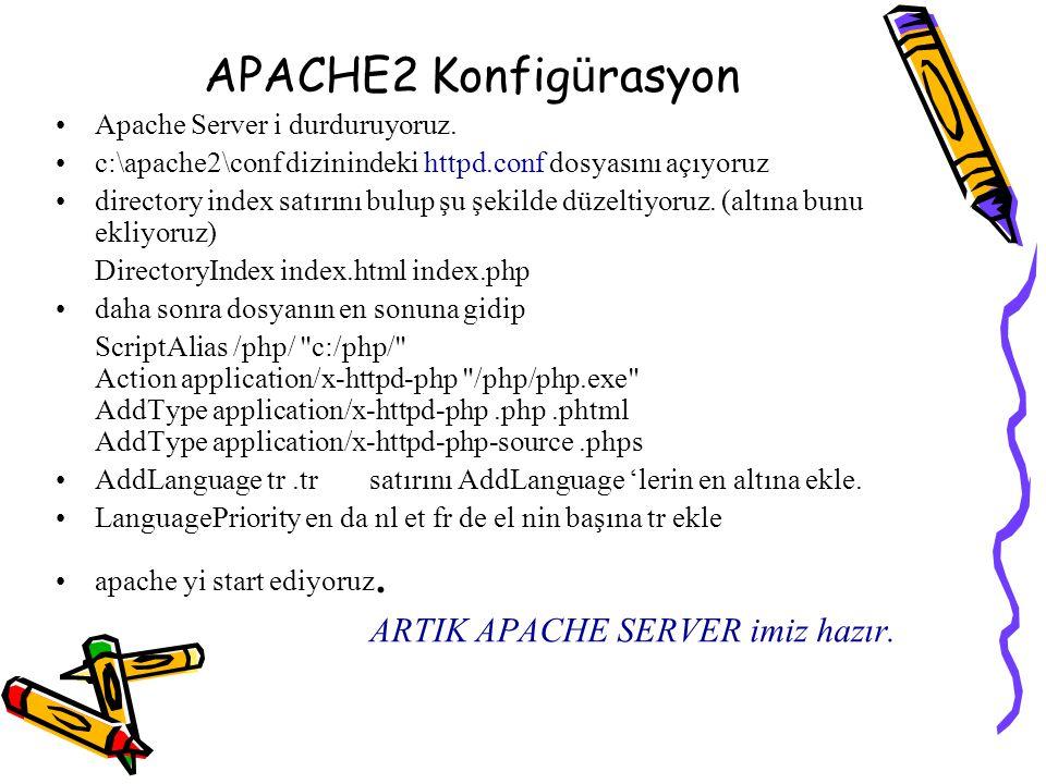 APACHE2 Konfigürasyon ARTIK APACHE SERVER imiz hazır.
