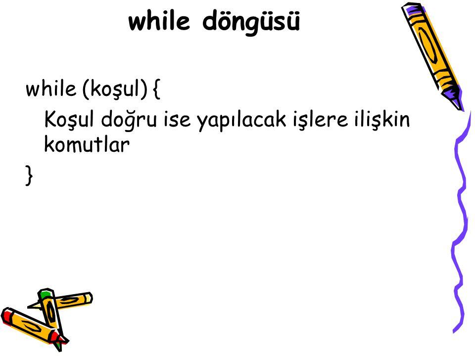 while döngüsü while (koşul) {