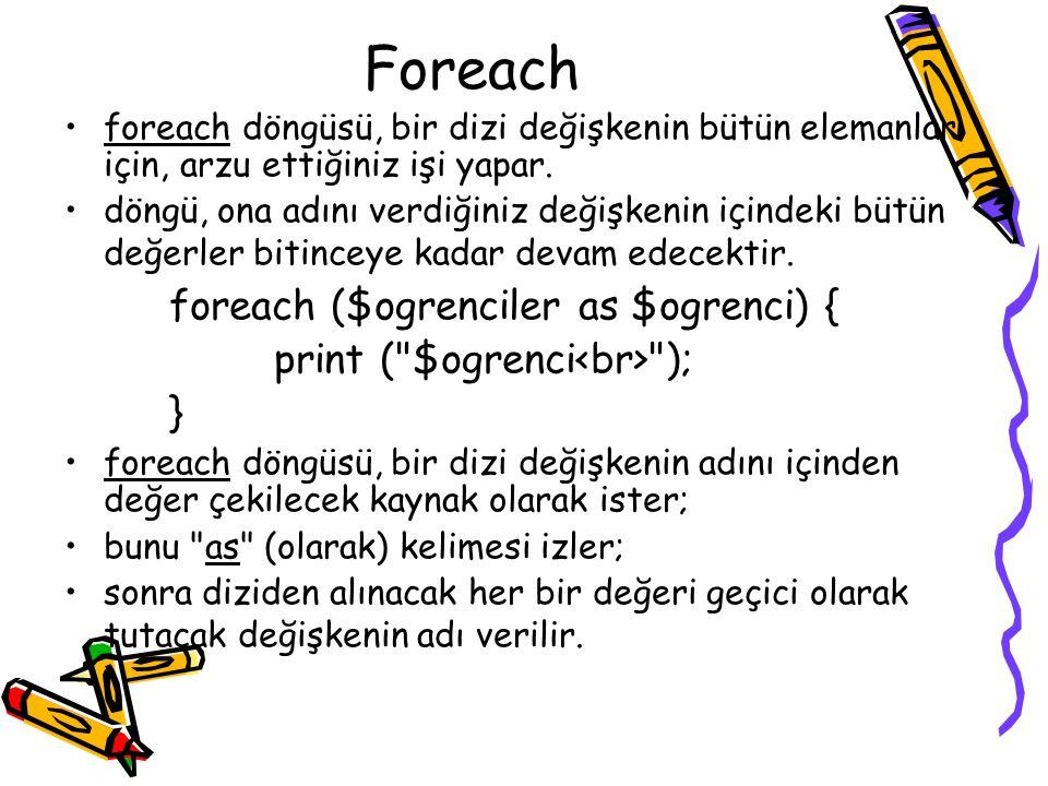 Foreach foreach ($ogrenciler as $ogrenci) {